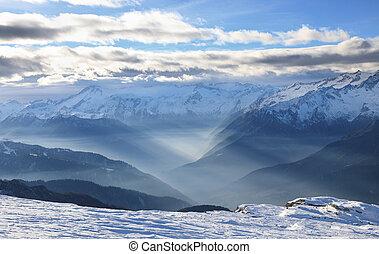 風景, ......的, dolomite, 高山