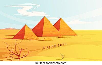 風景, 砂漠, エジプト人, ピラミッド, ラクダ