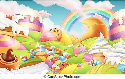 風景。, 糖果, 甜, 糖果, 矢量, 背景, 河, 牛奶, land., 3d