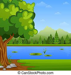 風景, 緑, 湖, 木, 松