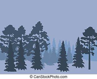 風景, 自然, 抽象的, 木, シルエット, 森林, 背景