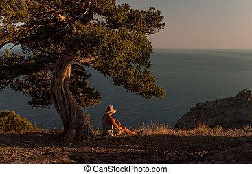 風景, 自然, crimea, 旅行者, 人, 美しさ
