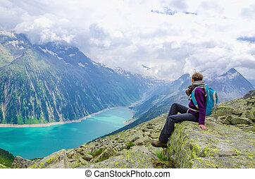 風景, 若い, オーストリア, 女, 湖, 高山