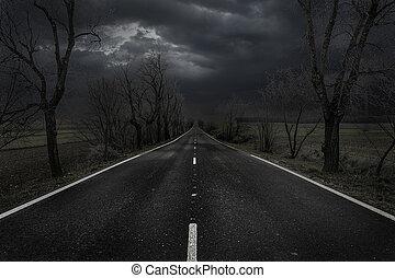 風景, 荒れ果てている, 日没, 捨てられた, 道