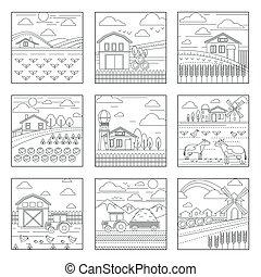 風景, 被隔离, 圖象, 夏天, 農場, 農業, 鄉村, outline