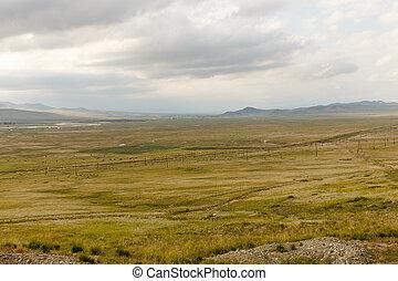 風景, 谷, mongolian, orkhon