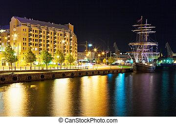 風景, 赫爾辛基, finland, 夜晚