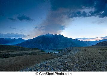 風景, altai, 夕方, ロシア, 山