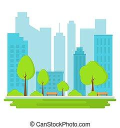 風景, illustration., city., 公共の公園, バックグラウンド。, ベクトル