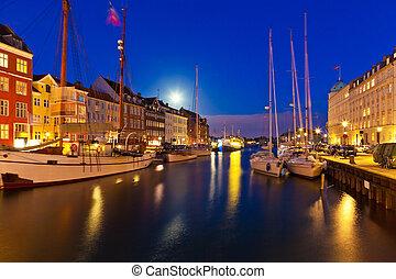 風景, nyhavn, 哥本哈根, 丹麥, 夜晚