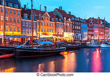 風景,  Nyhavn, 晚上, 丹麥, 哥本哈根