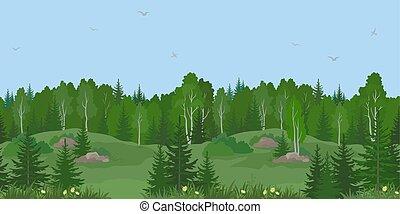 風景, seamless, 夏, 森林