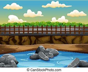 風景, waterform, 自然, 道