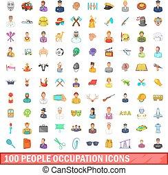 風格, 人們, 集合, 圖象, 100, 卡通, 職業