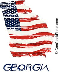風格, 佐治亞,  grunge, 地圖, 美國人, 旗, 矢量