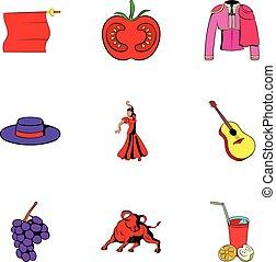 風格, 圖象, 集合, 國家, 卡通, 西班牙