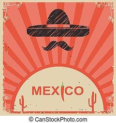 風格, 墨西哥人, 海報, 紙, 闊邊帽, 老
