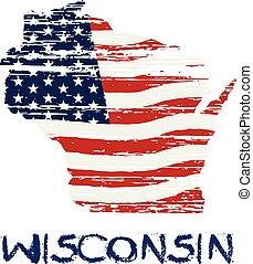 風格, 威斯康星, 地圖, 旗, 美國人, 矢量,  grunge