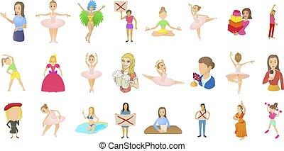 風格, 婦女, 集合, 字, 卡通, 圖象