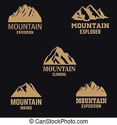 風格, 山, 設計, 標識語, 象征, 徵候。, 標簽, 圖象, 被隔离, 集合, 黑暗, 元素, 黃金, 背景。