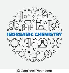 風格, 插圖, 矢量, 稀薄, inorganic, 線, 化學, 輪