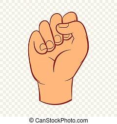 風格, 被緊握, 手, 拳頭, 圖象, 卡通