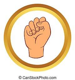 風格, 被緊握, 手, 矢量, 拳頭, 圖象, 卡通