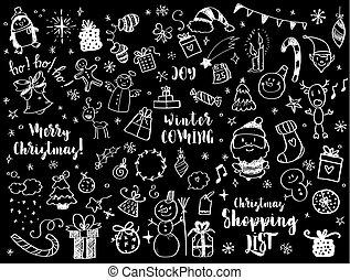 風格, 集合, 大, 元素, 設計, 心不在焉地亂寫亂畫, 聖誕節