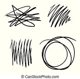 風格, 集合, doodle., 光, 略述, 被隔离, 背景。, hand-drawn, 矢量, 線, 雜文, 形狀。, 元素