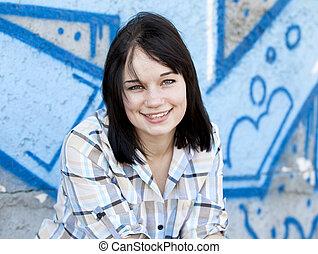 風格, 青少年的 女孩, 近, graffiti, 背景。
