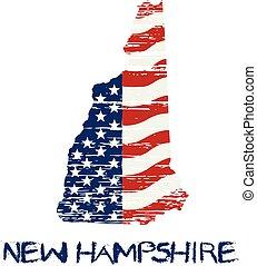 風格,  grunge, 地圖, 旗, 漢普郡, 美國人, 矢量, 新