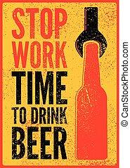 風格, grunge, illustration., work., 葡萄酒, 飲料, 停止, 海報, 啤酒, 矢量, retro, beer., typographical, 時間, design.