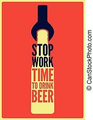風格, illustration., work., 葡萄酒, 飲料, 停止, 海報, 啤酒, 矢量, retro, beer., typographical, 時間, design.