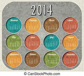 風格, retro, 日曆, 設計, 葡萄酒