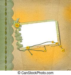 風格, scrapbooking, 框架, 設計, 報紙, grunge, 花, 束