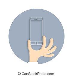 風格, smartphone, 卡通, 圖象, 手