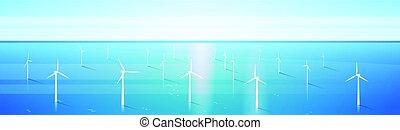 風汽輪機, 能量, 可更新, 水, 車站, 海, 背景