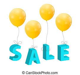 風船, ∥で∥, セール, 手紙, ., 概念, の, discount., ベクトル, イラスト