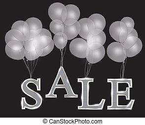 風船, ∥で∥, セール, 手紙, ., 概念, の, discount., ベクトル, illustration.