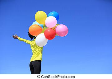 風船, 女, カラフルである, 元気づけること, 若い