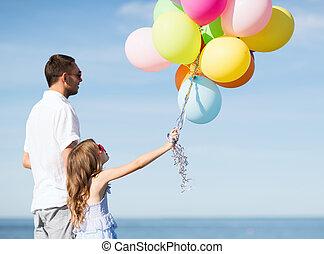 風船, 娘, カラフルである, 父