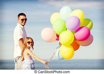 風船, 幸せ, 娘, カラフルである, 父
