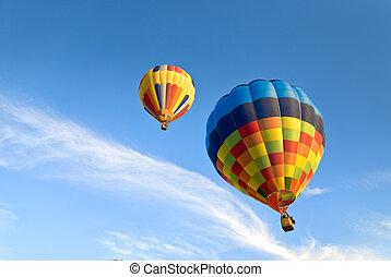 風船, 暑い, 雲, 空気