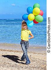 風船, 浜, 遊び, 子供