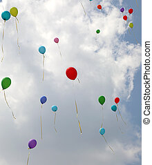 風船, 雲, 青く白い空