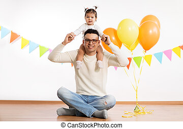 風船, birthday, 娘, パーティー, 父