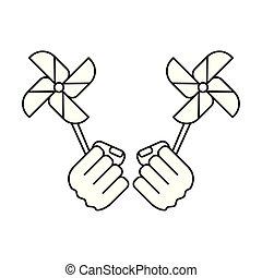 風車, おもちゃ, 力, ファン, 握りこぶし, 手