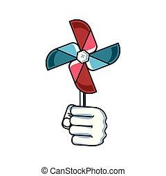 風車, おもちゃ, 力, 手ファン, 握りこぶし