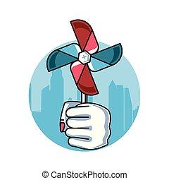 風車, おもちゃ, 握りこぶし, 力, 手ファン, 女性