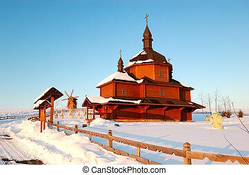 風車, ウクライナ, 古い, 木製である, 地域, 背景, 村, 教会, cherkasi, vodyaniki